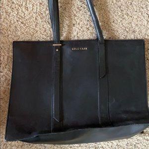 Black leather Cole Haan shoulder bag
